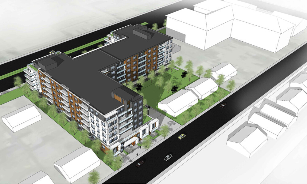 Large rental apartment proposed for Harvey and Saucier Ave in Kelowna